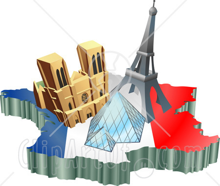 12382-Tourist-Attractions-Of-Notre-Dame-De-Paris-Cathedral-Eiffel-Tower-And-The-Louvre-Pyramid-Over-A-Map-And-French-Flag-Clipart-Illustration